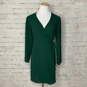 Topshop   Forest Green Crepe Wrap Dress